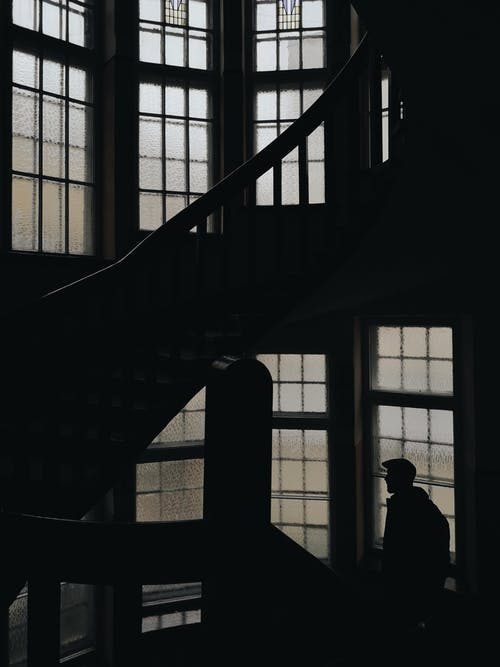 Silhouette of Man Standing on the Stairs