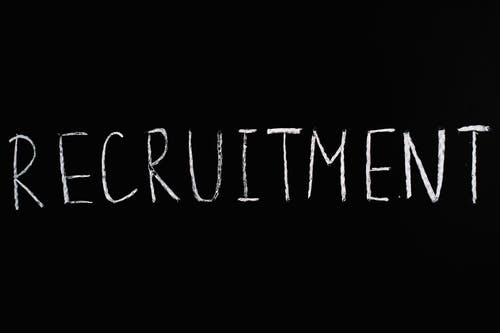 Recruitment Lettering Text on Black Background