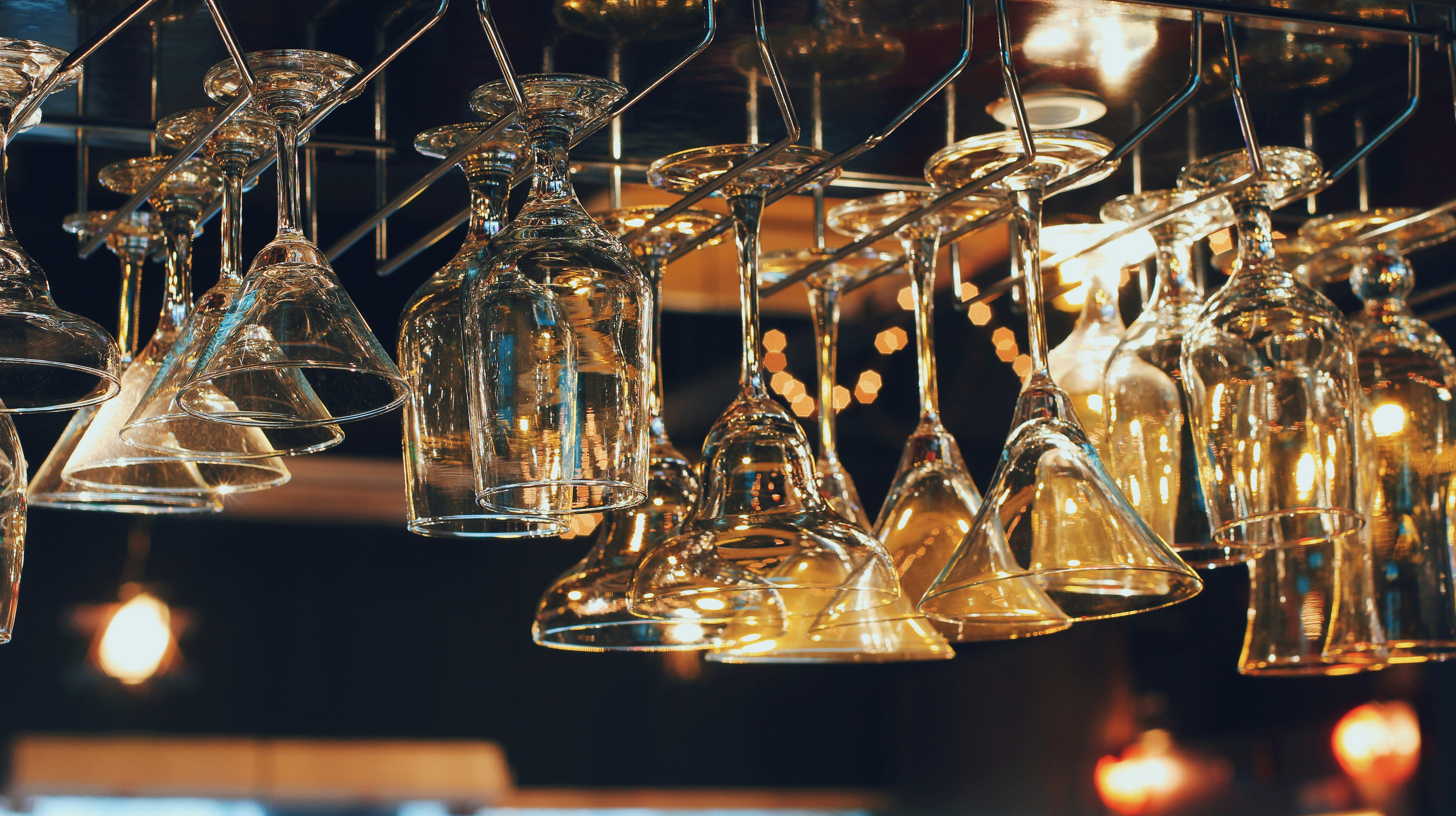 Hanged Clear Wine Glasses