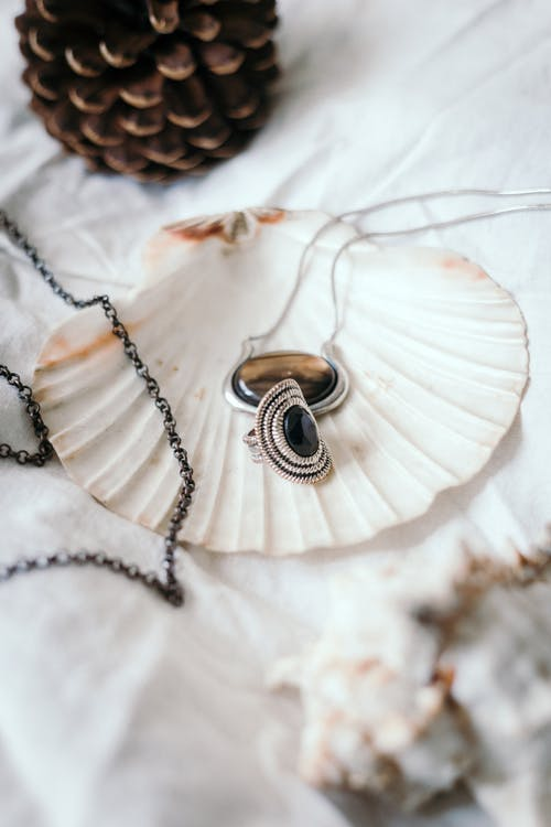 Silver Round Pendant Necklace on White Textile