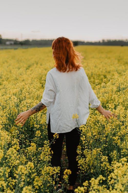 Kobieta W Białej Koszuli Z Długim Rękawem Stojącej Na żółtym Kwiatowym Polu