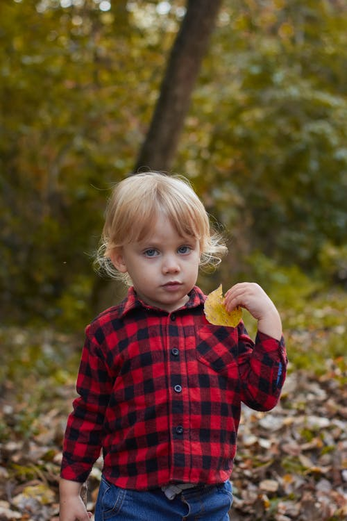 Girl in Red and Black Plaid Dress Shirt