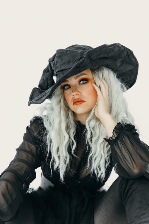 Beautiful Woman In Black Witch Costume