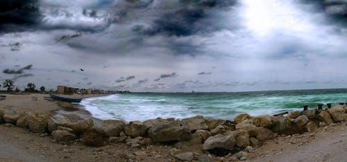 Free stock photo of beach, boat, rocks