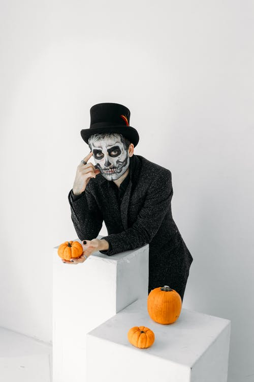 Man in Black Suit With A Scary Face Paint Of A Skull