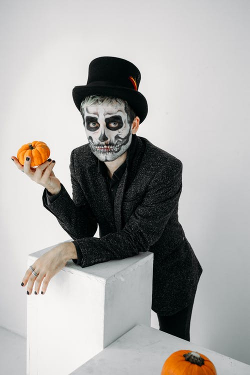 Man in Black Suit With A Scary Face Paint