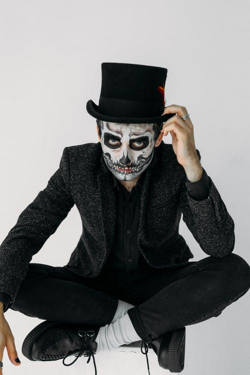 Man in Black Suit With A Scary Art Makeup