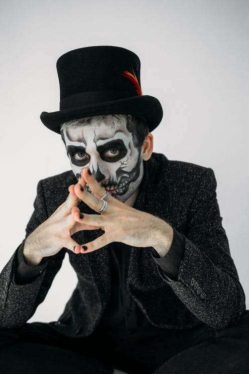 Portrait Of A Man With Skull Face Paint