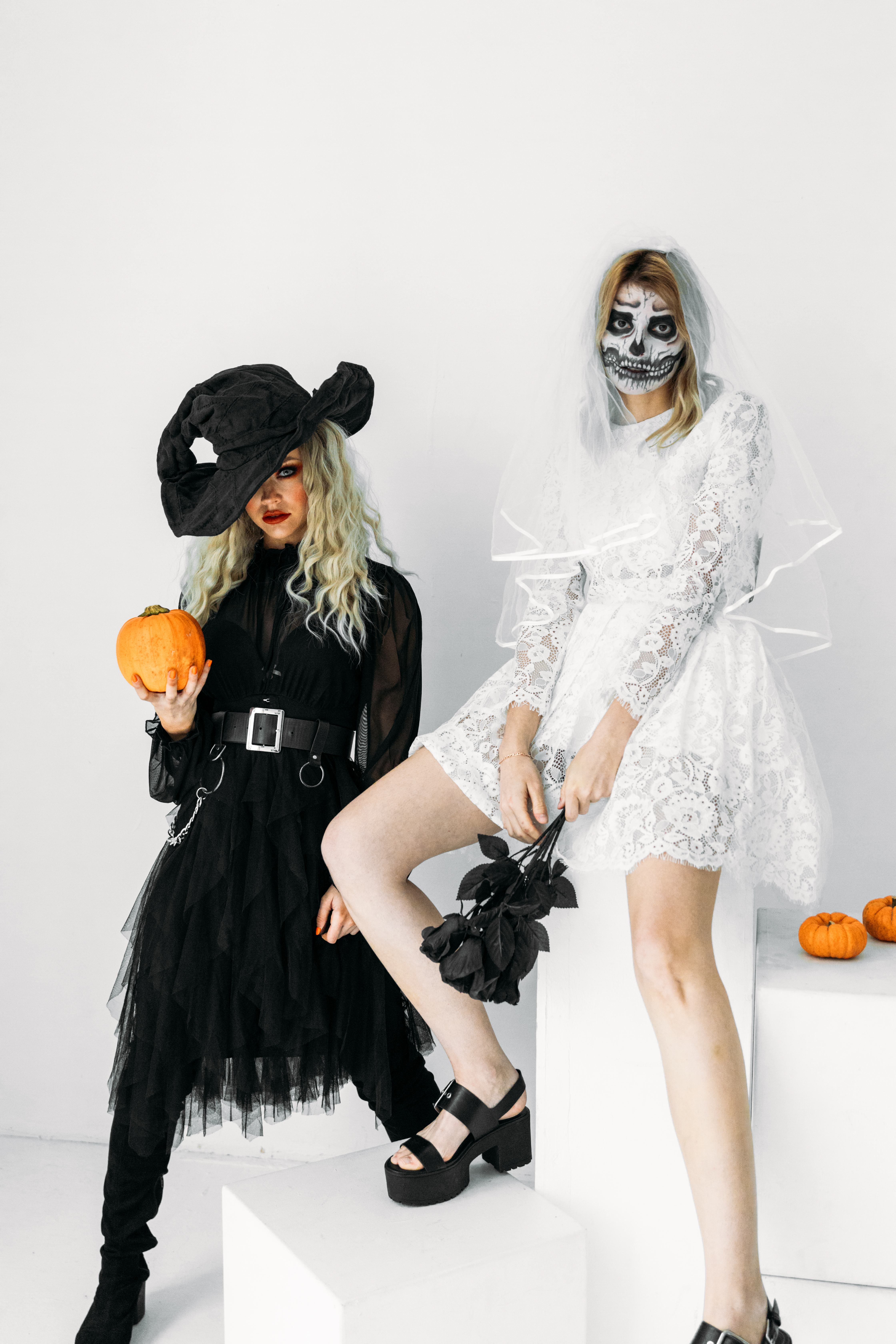 Halloween Costumes For Two Women.Two Women With Different Halloween Costumes Free Stock Photo