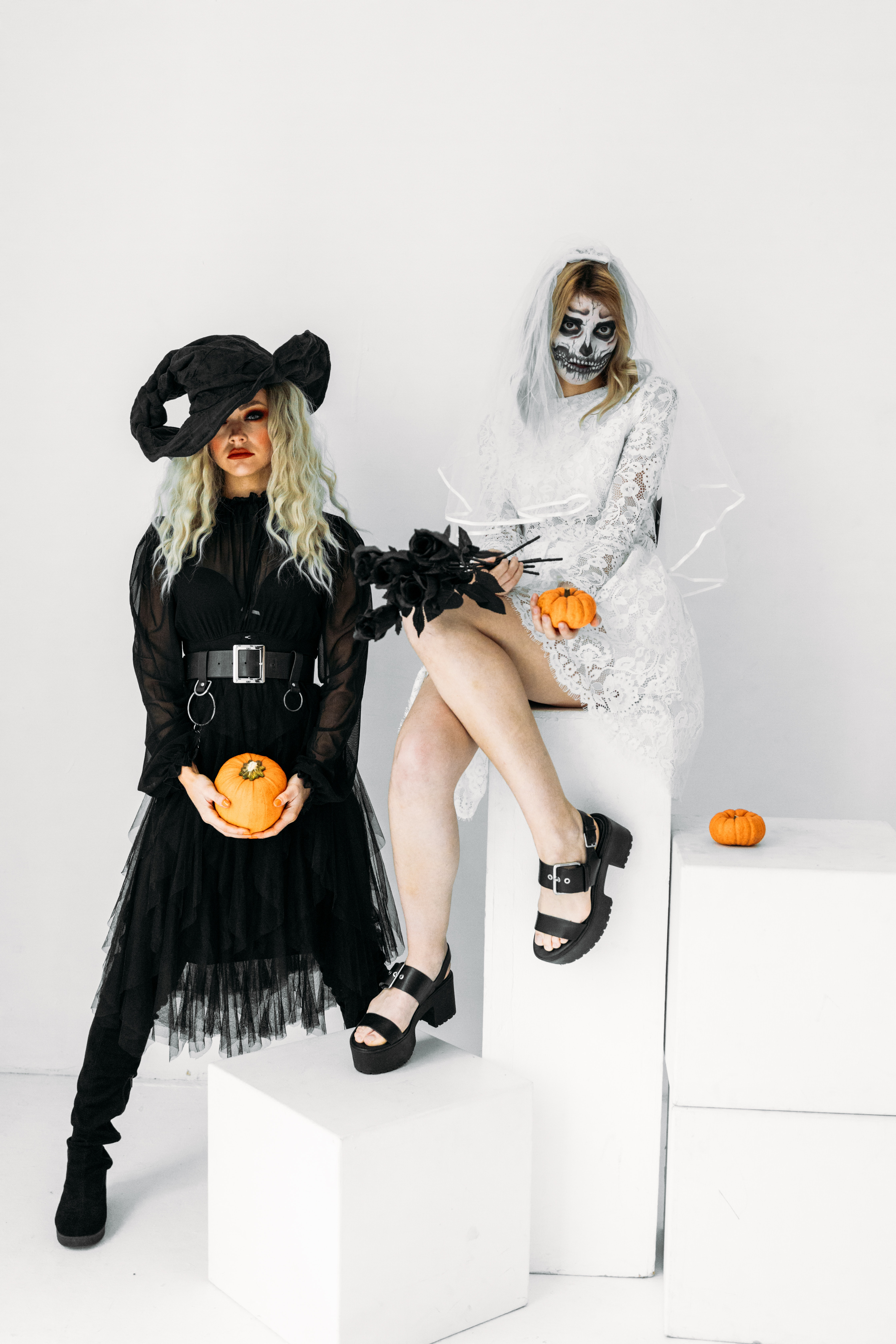 Halloween Costumes For Two Women.Two Women Wearing Halloween Costumes Free Stock Photo