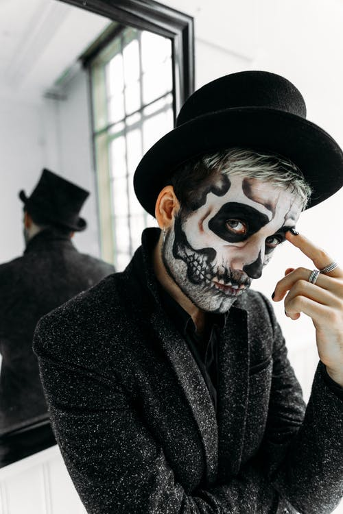 Man With Black Hat and Black Coat With A Scary Face Paint