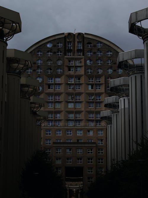Facade of industrial building in city