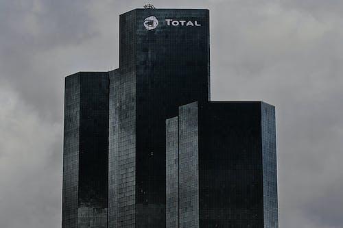 Facade of contemporary skyscrapers in city