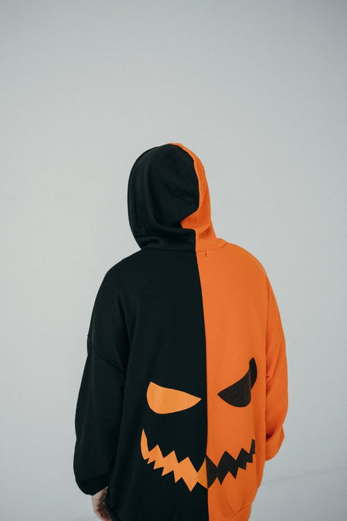 Back View of Person Wearing Pumpkin Hoodie