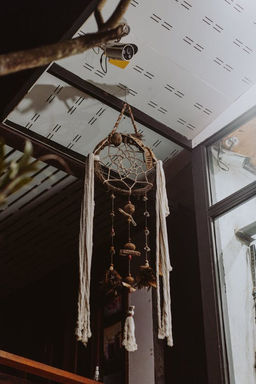 Brown and White Hanging Decor