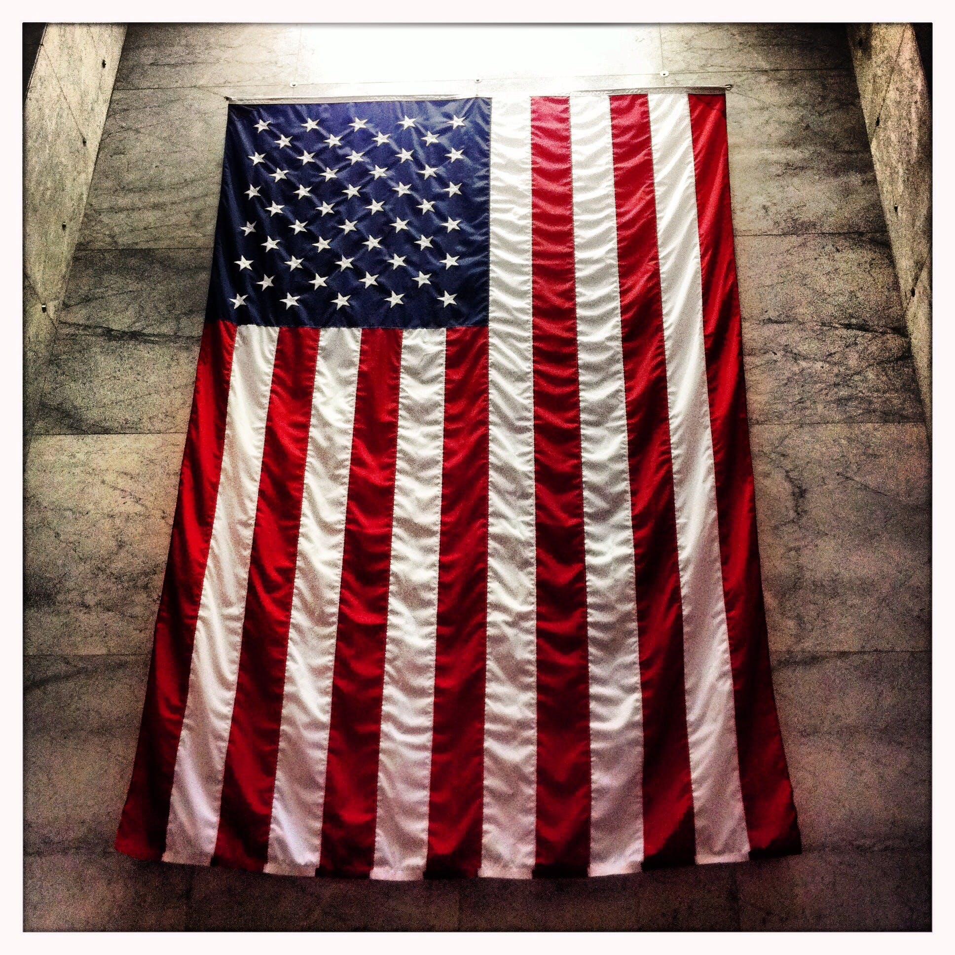 United States of America Flag Hanged on Wall