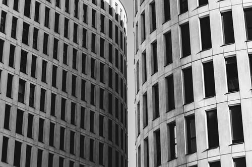 Tall buildings with identical windows