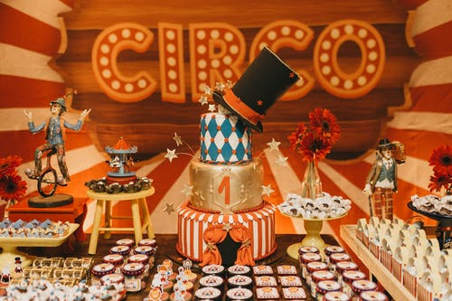 Festive cake and desserts against colorful decorations