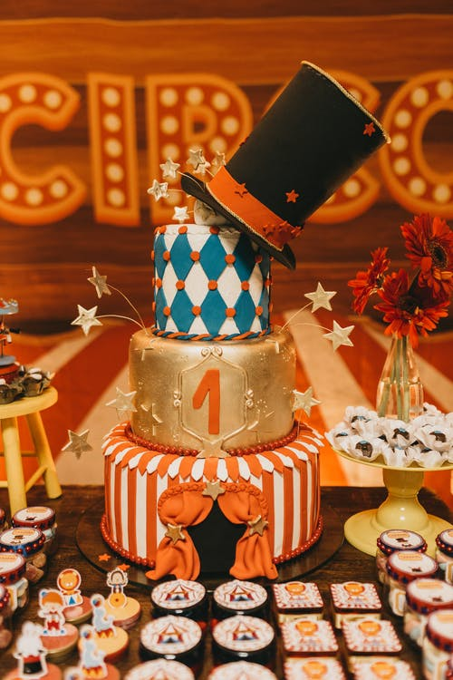 Sweet cake with colorful party decorations