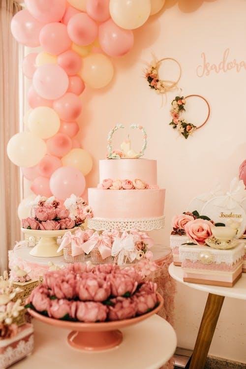 Tasty cake decorated with wedding style