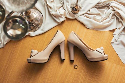 White Leather Peep Toe Heeled Shoes