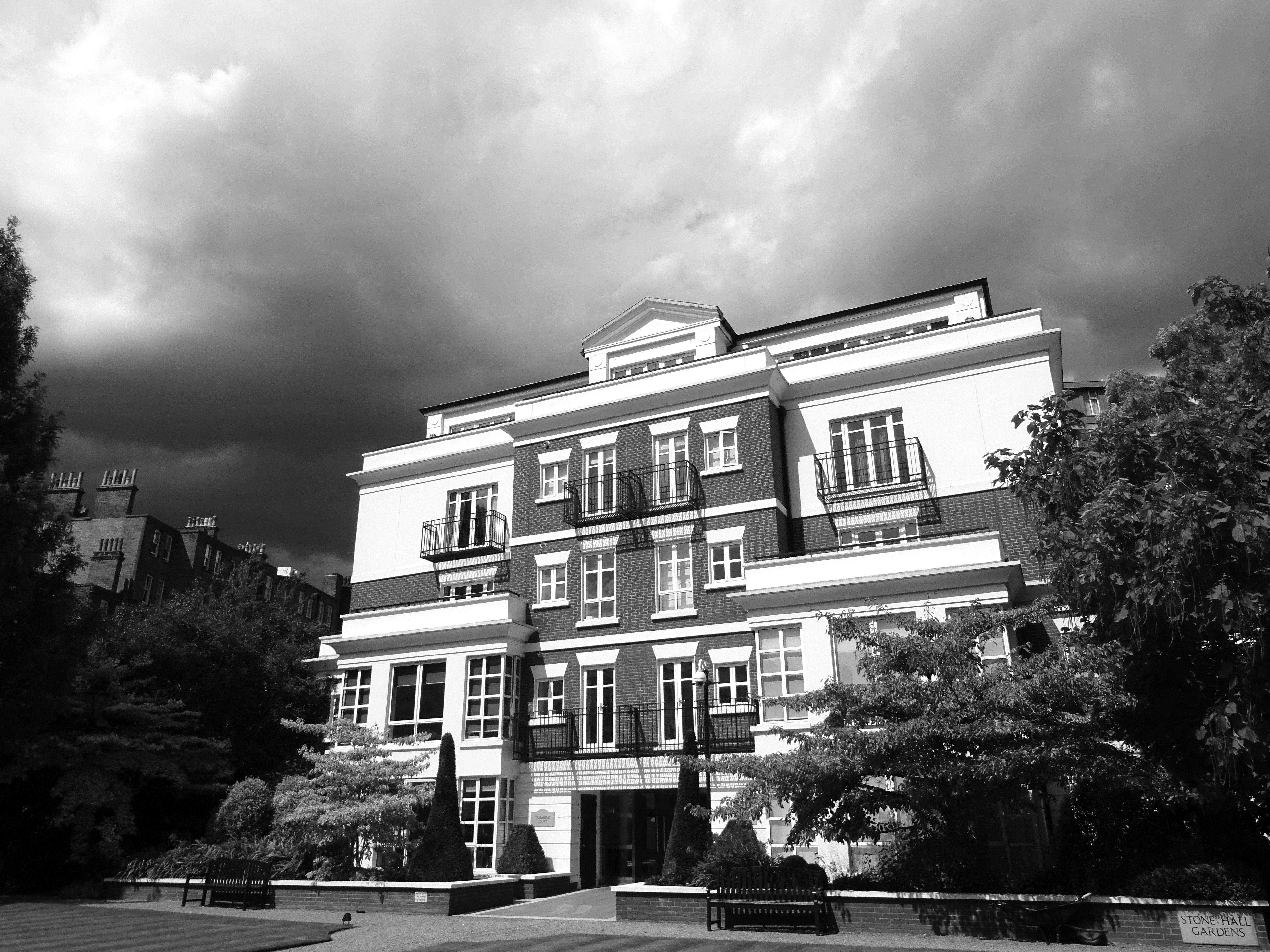 architecture, black and white, clouds