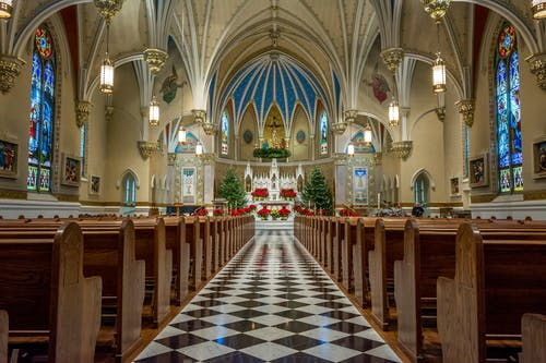 Blue and White Church Interior