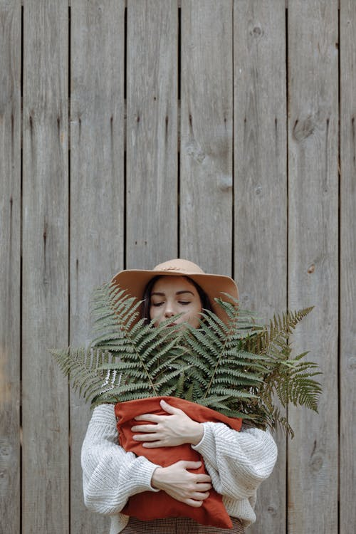 Woman Wearing Brown Hat  And Knitted Sweater Holding Fern Plants