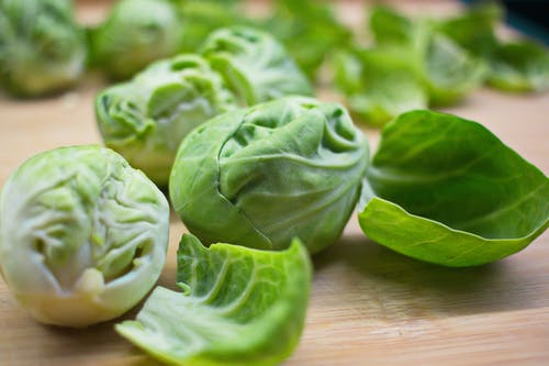 Peeled fresh green Brussels sprouts