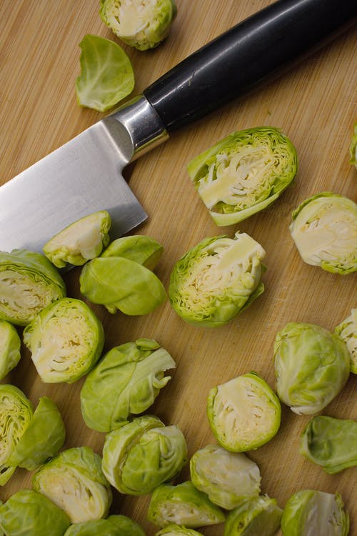 Cut Brussels sprouts on cutting board