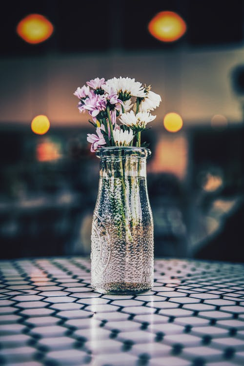 White and Purple Flowers in Clear Glass Vase on Table