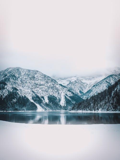 Snow Covered Mountain Near Lake