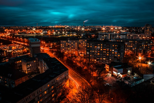 Free stock photo of city, sunset, lights, night