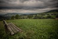 bench, nature, sky