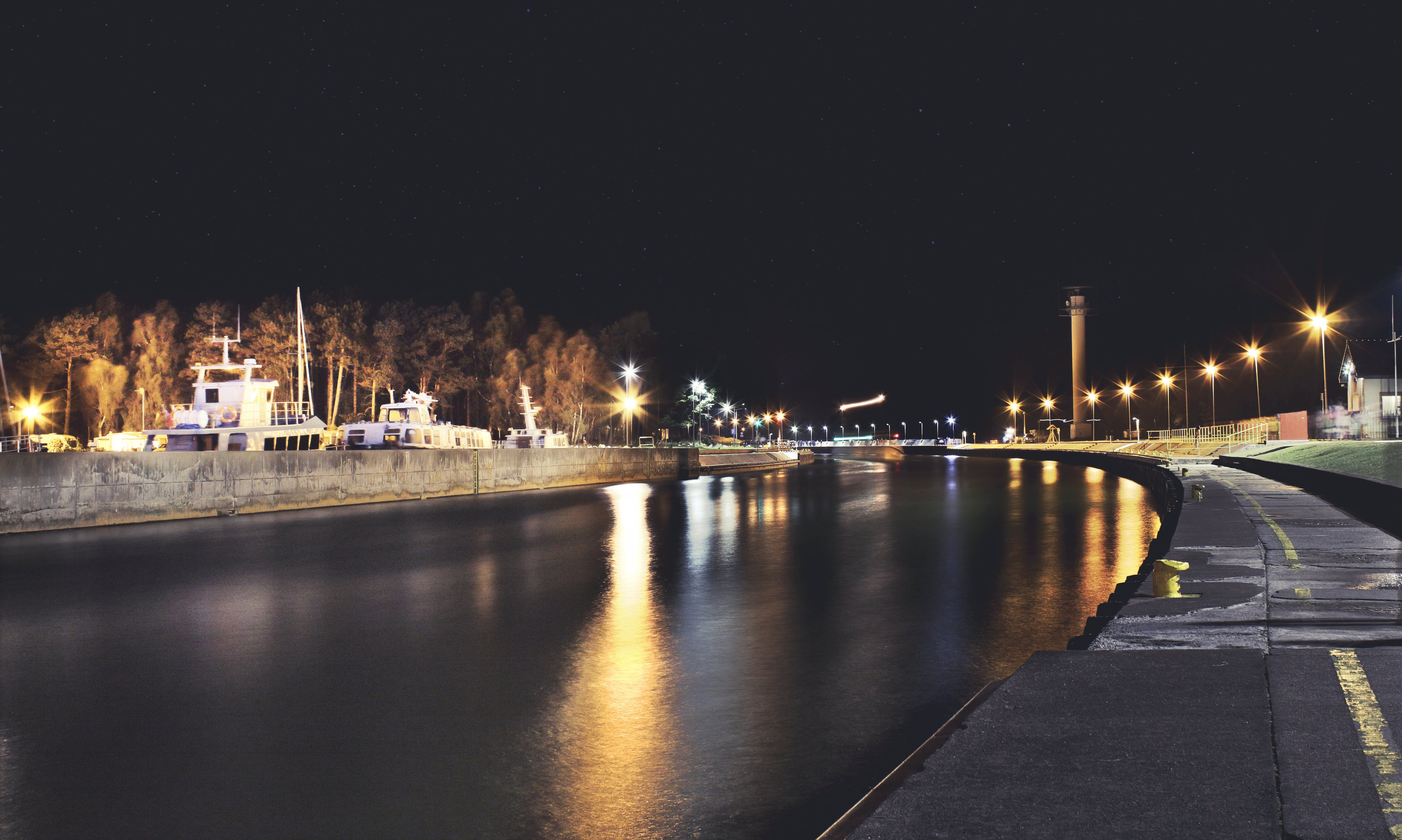 Free stock photo of lights, long time expo, night, sea
