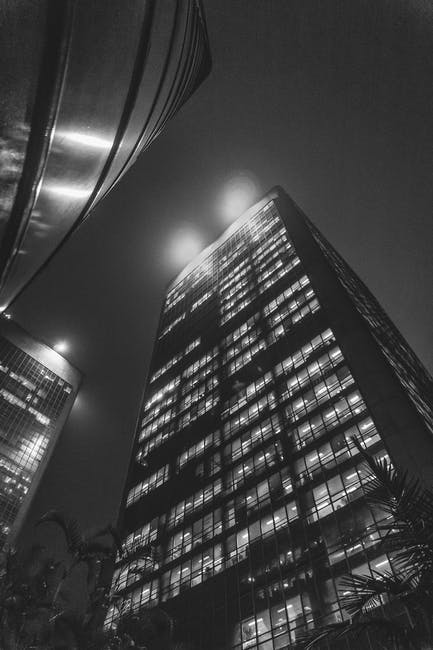 New free stock photo of black-and-white, lights, night