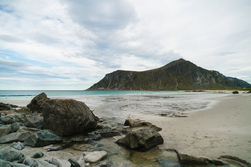 Lonely rocky seashore with rocks