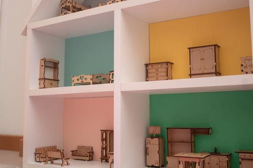 White Wooden Shelf With Boxes