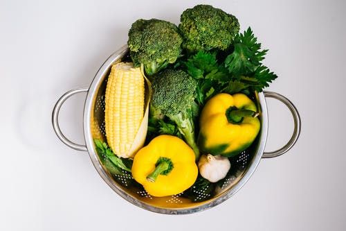 Vegetables in a Stainless Strainer