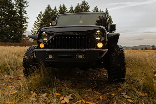 Black Jeep Wrangler on Brown Grass Field