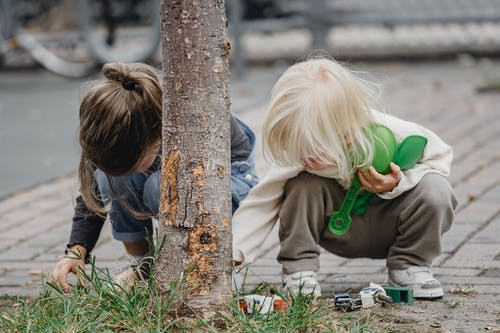 Concentrated kids playing near tree