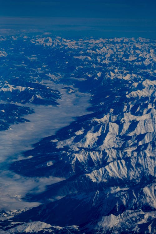 Amazing landscape of snowy boulders