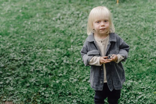 Adorable little boy standing on glade