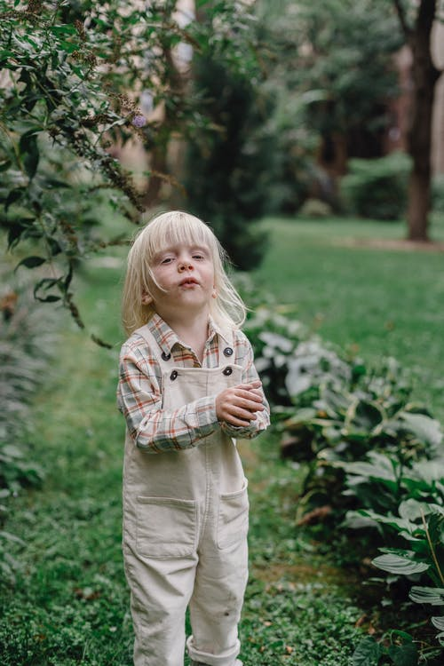 Cute little child with blond hair in casual clothes standing on green lawn and looking at camera while playing in garden