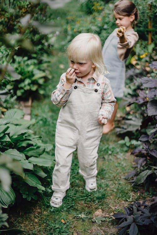 Meisje In Wit En Grijs Geruite Button Up Shirt En Witte Broek Permanent In De Buurt Van Groene Planten