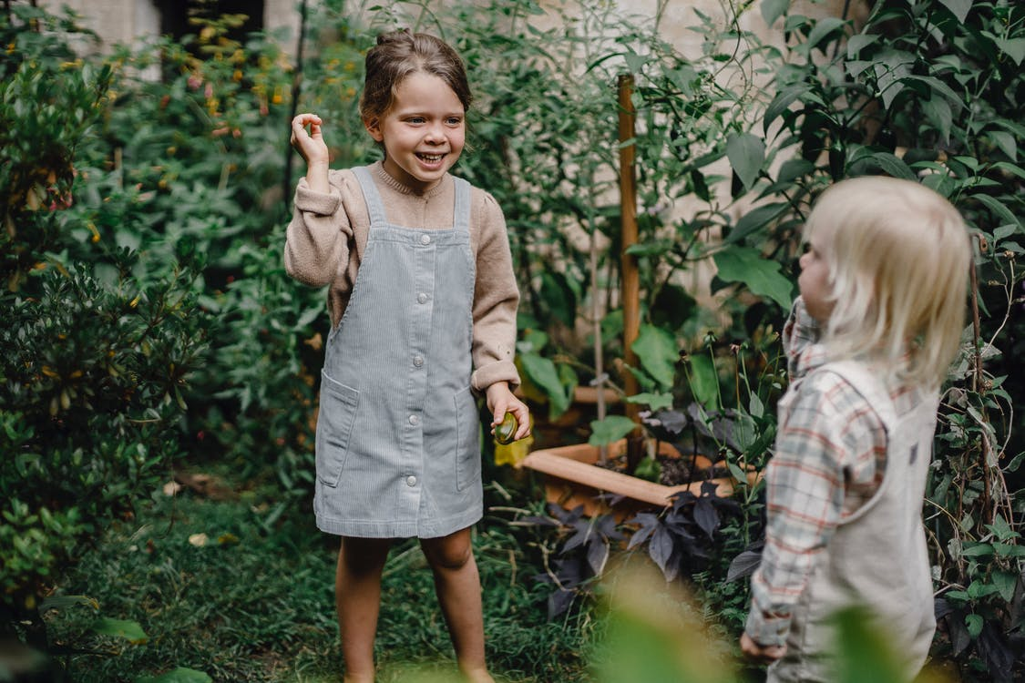 Cute little siblings playing together in garden near lush plants