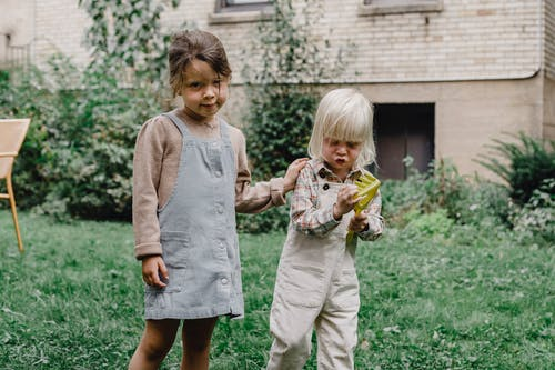 Meisje In Grijs Shirt Met Lange Mouwen Met Gele Bloem Staande Naast Meisje In Witte Jurk Tijdens