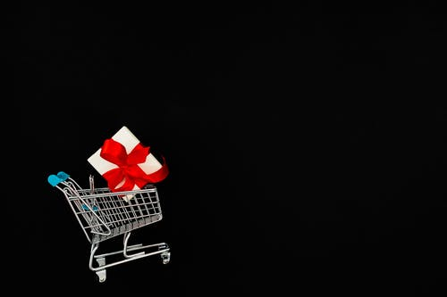 Present In A Mini Shopping Cart