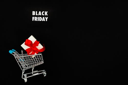 Gift on Shopping Cart On Black Friday