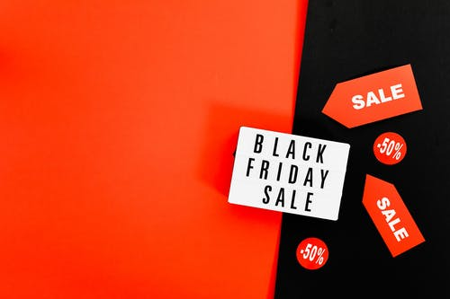 A Black Friday Sale Signage on Red and Black Background